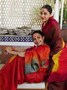 Indian beauties in red saris
