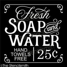 fresh soap and water stencil & hand towels free bath hot bathroom vintage Stencil Templates, Stencils, Bath Sign, Large Tub, Bathroom Signs, Bathroom Ideas, Bathroom Quotes, Bathroom Humor, Vintage Laundry