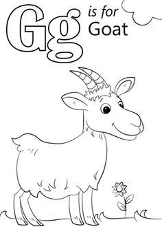 Goat Coloring Pages Easy - Free Printable Coloring For Kids Apple Coloring Pages, Alphabet Coloring Pages, Online Coloring Pages, Animal Coloring Pages, Free Printable Coloring Pages, Alphabet Letter Crafts, Preschool Alphabet, Alphabet Activities, Preschool Activities