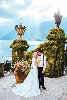 Rebecca and Elijah' Destination Lake Como, Italy  Wedding. Ceremony took place at Villa Del Balbianello. See more photos by The Goodness on www.intimateweddings.com/blog  #destinationweddings