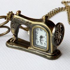 Retro style Pocket watch Necklace, Sewing machines and scissors, with a gift bag--sale