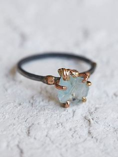 Variance Objects Womens Raw Aquamarine Ring