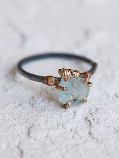 Variance Objects Womens Raw Aquamarine Ring