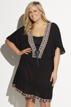 a1af875f832 Always For Me Plus Size Absolutely Amagansett Embroidered Cover Up in Black