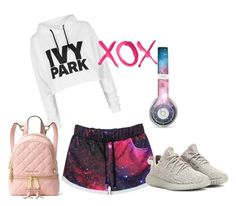Galaxy look by afrodille-by-andreea on Polyvore featuring Topshop, adidas Originals, MICHAEL Michael Kors, GALA and printedshorts