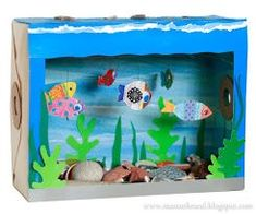 Great craft for kids . Great craft for kids . Related posts: Rainbow Fish Craft Using Celery as a Stamp – Great craft for kids! Kids Crafts, Crafts For Kids To Make, Summer Crafts, Preschool Crafts, Projects For Kids, Shoebox Crafts, Kids Aquarium, Aquarium Craft, Diorama Kids