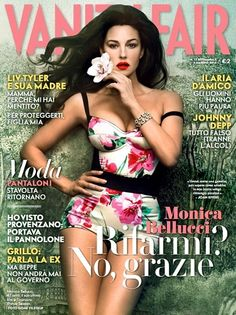 Monica Bellucci in Dolce floral-print bodysuit on the cover of Vanity Fair Italy, May 2012