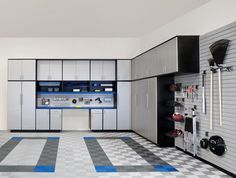 Wall organization for the garage, we like the idea of having metal cabinets that might be able to stand up to abuse.