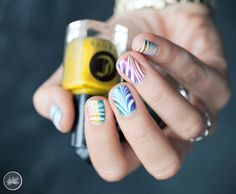 Cirque Colors Juicy Collection  White Watermarble nail art