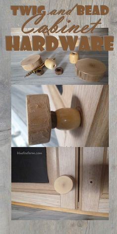 Need Rustic Drawer Pulls or Handles?  Make your own out of twig rounds and wooden beads...  Upcycled Furniture DIY   Twig Projects