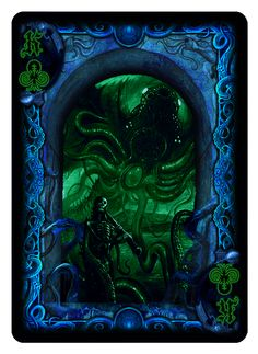 """King of Clubs from """"Cthulhu:The Great Old One"""" R'lyeh Rising Edition Bicycle Playing Cards Deck from Dann Kriss Games; with art by Ian Daniels"""