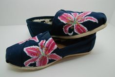 Stargazer lily flowers painted TOMS shoes
