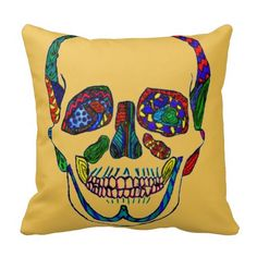 Colorful Anatomical Sugar Skull Mosaic Pillow Hand drawn and available in several other colors!  #zazzle #skull #sugarskull #pillows #homedecor