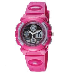 OHSEN Water-proof Digital-analog Boys and Girls Children Sport Digital Watch with Alarm Stopwatch Chronograph Backlight - Rose Red. Japanese-Quartz movement + Digital Movement ,Japanese Maxall battery. Japan original quartz with clear ,accurate time calibration. High strength glass with anti-scrape ,soft PU band. EL backlight, alarm, stop watch, snooze time,chronograph ,12/24 hour time , showing day-month-date. Water resistance (not for swimming,diving;please don't press any keys when...