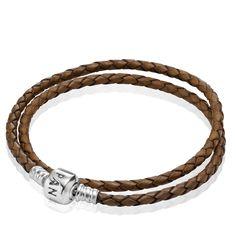 PANDORA | Brown Braided Double-Leather Charm Bracelet