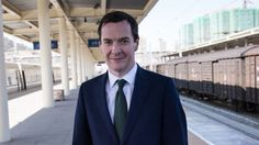 Chancellor of the Exchequer, George Osborne prepares to board a train from the city of Urumqi in north west China to Turpan, 23 September 2015