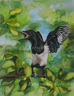 Elster von ·.¸¸.·´´¯`··._.·☆  Galerie Rosemarie Kerschl  ☆ ·.¸¸.·´´¯`··._.· auf DaWanda.com