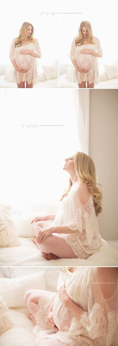 Some natural looking lace-covered maternity poses