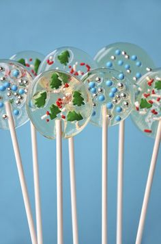 These crystal clear lollipops are made with just two ingredients, leaving the door wide open for customization when it comes to the colorful add-ins.