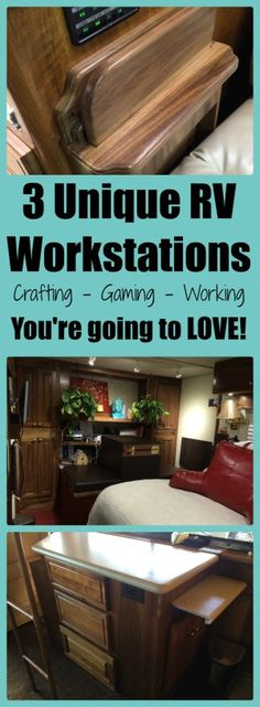 When we considered the possibility of living and working on board our RV, along with homeschooling two kids, we realized that a high priority for our family was going to be work space. A place to put the laptop and various devices, a place to spread out for sewing and myriad crafts, a place to store files and office supplies. We needed a LOT of desk space, and we all had different needs. So we have three different solutions to share!