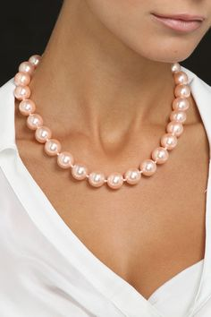 Ocean Pearl Necklace In Pink.