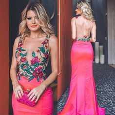 Back less long pink prom dress,v- neck evening dress flowers with appl – FLYDP Prom Dresses Long Pink, Sexy Dresses, Beautiful Dresses, Fashion Dresses, Formal Dresses, Glamour, Party Mode, Vestidos Sexy, Party Fashion