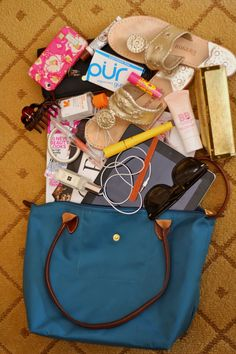 Lilly phone case, Jack Rogers, an iPad, and Ray Bans all inside of a Longchamp bag... my dream purse