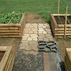 KINGSO Walk Maker Concrete Stepping Stone Mold Garden Lawn Path Paver Black