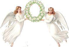 Oblaten Glanzbild scrap die cut chromo Engel angel  Margeriten Kranz wreath