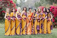 south indian bridesmaids in yellow and purple sarees