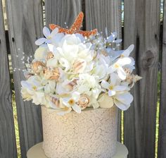 Beach Wedding Cake Topper Sea Shell Cake Topper by LCFloral