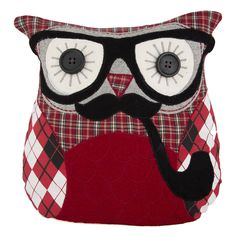 Sass & Belle Applique Owl Cushion - Grandpa Ronald (With Inner) Owl Doorstop, Crochet Projects, Sewing Projects, Owl Cushion, Cute Cushions, Whimsical Owl, Owl Pillow, Owl Crafts, Felt Decorations