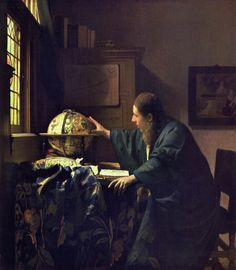 Johannes Vermeer The Astronomer, , The Louvre, Paris. Read more about the symbolism and interpretation of The Astronomer by Johannes Vermeer. Johannes Vermeer, Vermeer Paintings, Louvre Paris, Baroque Art, Dutch Golden Age, Dutch Painters, Great Paintings, Dutch Artists, Oil Painting Reproductions