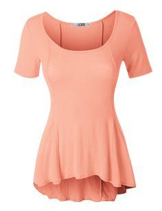 LE3NO Womens Lightweight Short Sleeve Scoop Neck Peplum Top