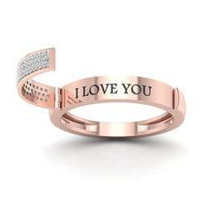 De Couer 10k Rose Gold 1/6ct TDW Diamond Say It Ring - Pink (8.5)