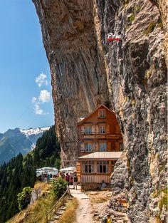 A restaurant that clings to a nook of Ebenalp near Äscher, Wildkirchli in Alpstein area of eastern Switzerland