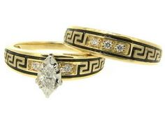 Native American Style Wedding Ring Set With Band In Yellow Gold Custom Engagement Rings Alaskan Rush Fine Jewelry Fairbanks Ak