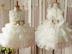 Classy Satin Champagne Organza Ruffles and Applique Rose Bodice Flower Girl Dress