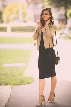 637c37d8de BERSHKA dress | BERSHKA jacket | PRIMARK bag. Primark Bags, Leather Jacket,  Outfit