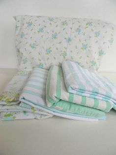 vintage floral and stripe sheets pillow case instant collection. $30.00, via Etsy.