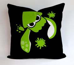 Green Splatoon Inspired Pillowcases Pillow Cases Covers Square Design Home Decoration