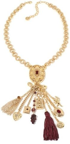 """R.J. Graziano Embellished Goldtone 18"""" Charm-Style Fringe Necklace"""