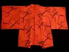 Japanese Vintage Kimono, HAORI, Silk, Orange, Good condition Y120218