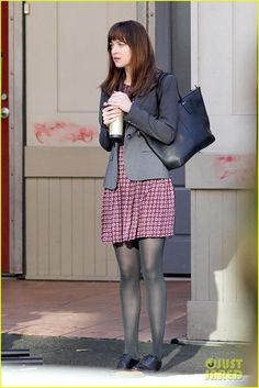 Dakota Johnson as Anastasia Steele. Interview/first day at SIP?
