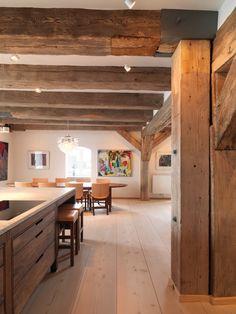 Douglas fir wide plank flooringin kitchen - Dinesen
