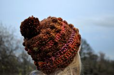 Handcrafted Crochet Bobble Hat in Brown and assorted earthy colours by TheCuddleFactory on Etsy https://www.etsy.com/listing/215068048/handcrafted-crochet-bobble-hat-in-brown
