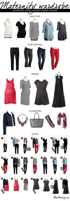 Basic maternity wardrobe staples you can mix and match to create many cute outfits.