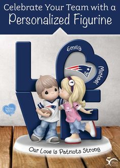 Your sweetheart and the Patriots have both won your heart! Now, celebrate your two loves with this Precious Moments figurine.  A wonderful way to show who your heart belongs to, this adorable fan figurine is even personalized with the names of you and your sweetheart! Packed with Patriots colors and team logos, this fan-tastic tribute is sure to light up your team spirit!
