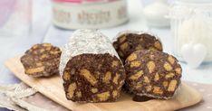 Il salame di cioccolato al cocco è un dolce favoloso, si prepara in 5 minuti con pochi ingredienti ma senza burro e senza uova, è golosissimo e si conserva a lungo e non si rompe al taglio!