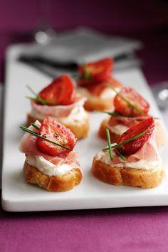 Balsamic Strawberry Serrano ham bites yum..